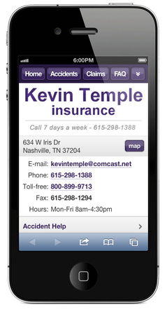 m.kevintempleinsurance.com website preview